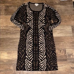 Carmen Marc Valvo Printed Long Sleeve Dress